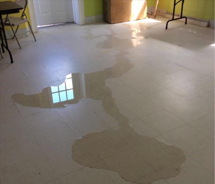 Water on the floor of a church in North Carolina after Hurricane Florence hit